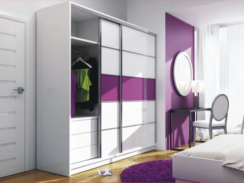 Wardrobe Dubai-white/purple glass