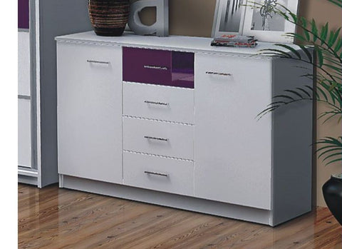 Sideboard/Cabinet Dubai-White/Purple, White/Black glass