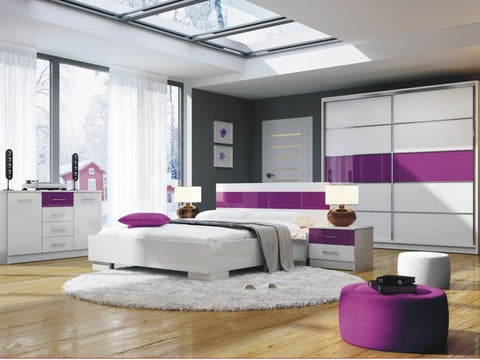 Bedroom Set Dubai 4 elements White/Purple glass