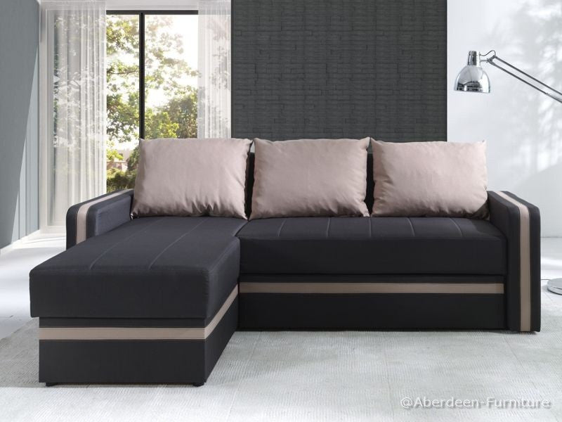 Corner Sofa Bed Bed Euphoria Dark Brown/Latte