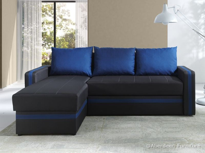 Corner Sofa Bed Bed Euphoria Dark Brown/Dark Blue
