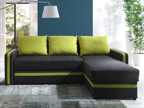Corner Sofa Bed Bed Euphoria Dark Brown/Lime