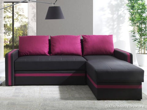 Corner Sofa Bed Bed Euphoria Dark Brown/Pink