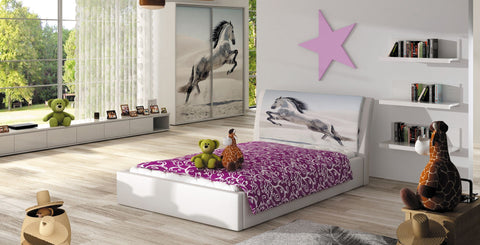 Small Double Bed - Smile- for mattress 120x200 cm in White or Black
