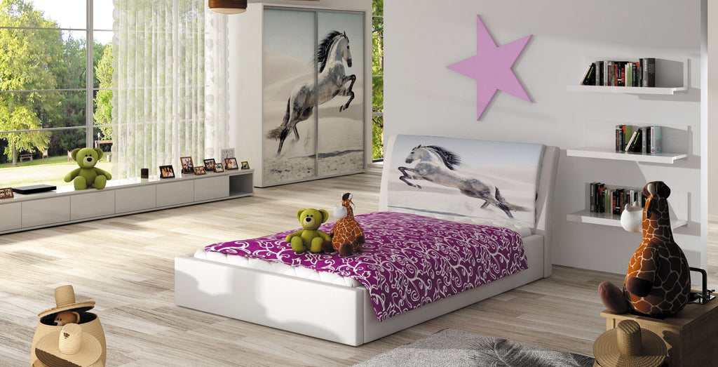 Smile - Single Bed for mattress 140x200 cm in White or Black
