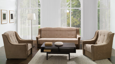 Niagara Sofa Bed+Armchair in Brown