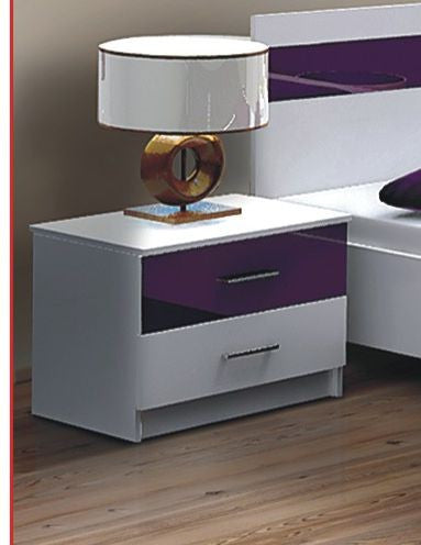 Bedside Table Dubai purple and white glass