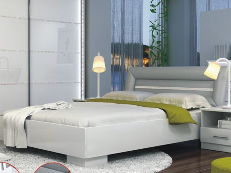 Bedroom Set Malaga White White Glass And Bright Decor Aberdeen Furniture