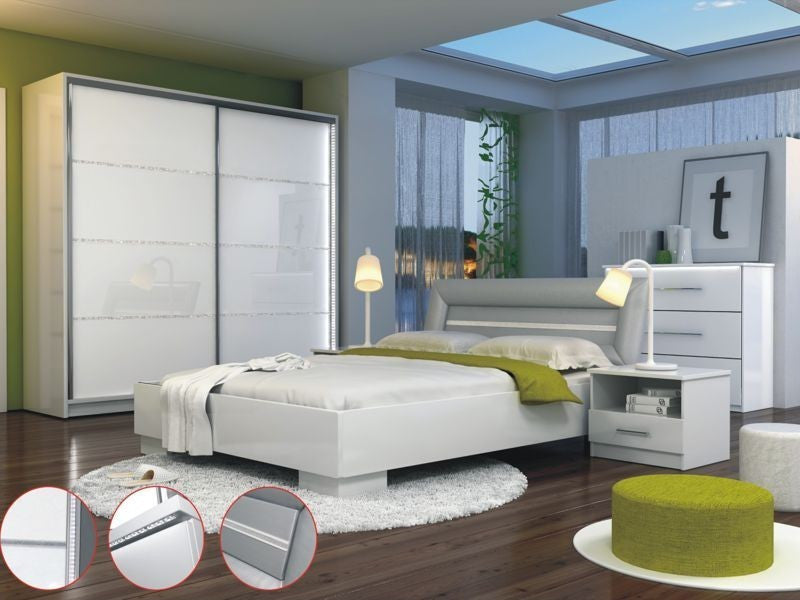 Bedroom Set Malaga-White/White glass and bright decor