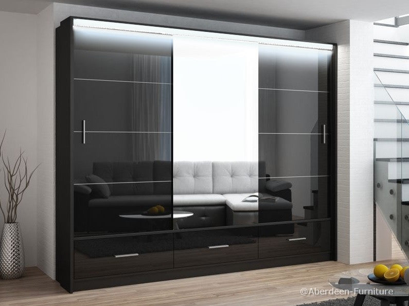 Marseille wardrobe 255cm wide-black/high gloss black