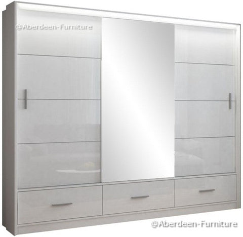 Marseille wardrobe 255cm wide-white/ high gloss white