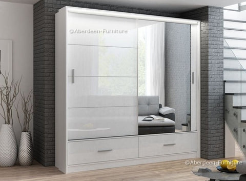 Marseille wardrobe 208 cm wide-white/ high gloss white