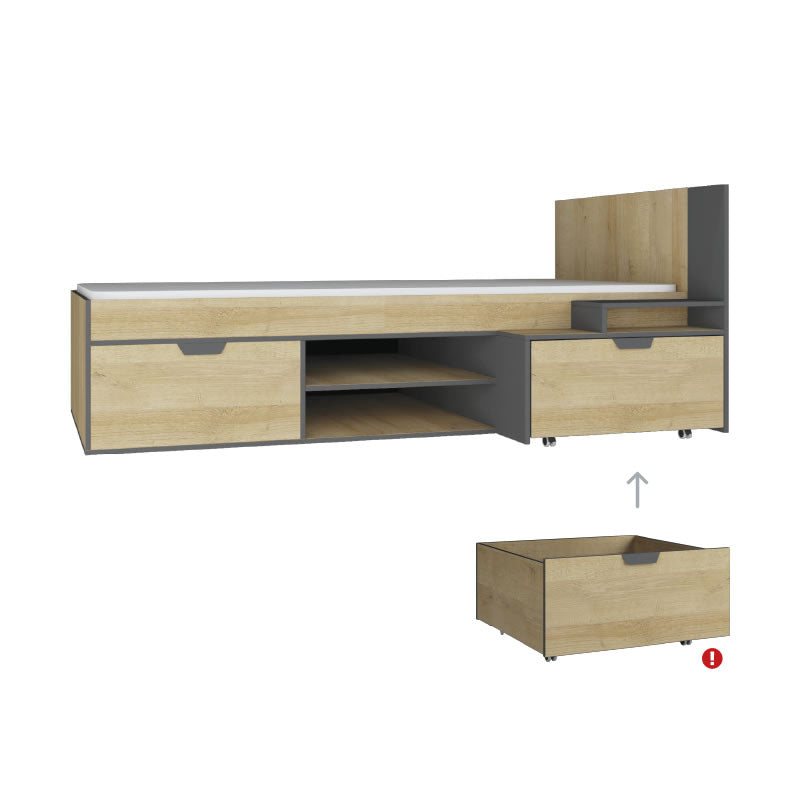 Nano NA13 Single Bed L/R-Oak Riviera