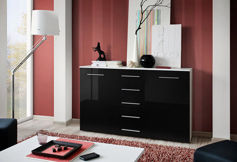 Buy a large sideboard -glossy black-5 drawers