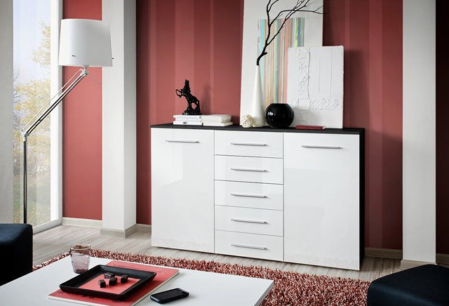 Buy a large sideboard -glossy white-5 drawers