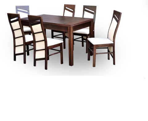 Solid wood dining set table+6 chairs in walnut