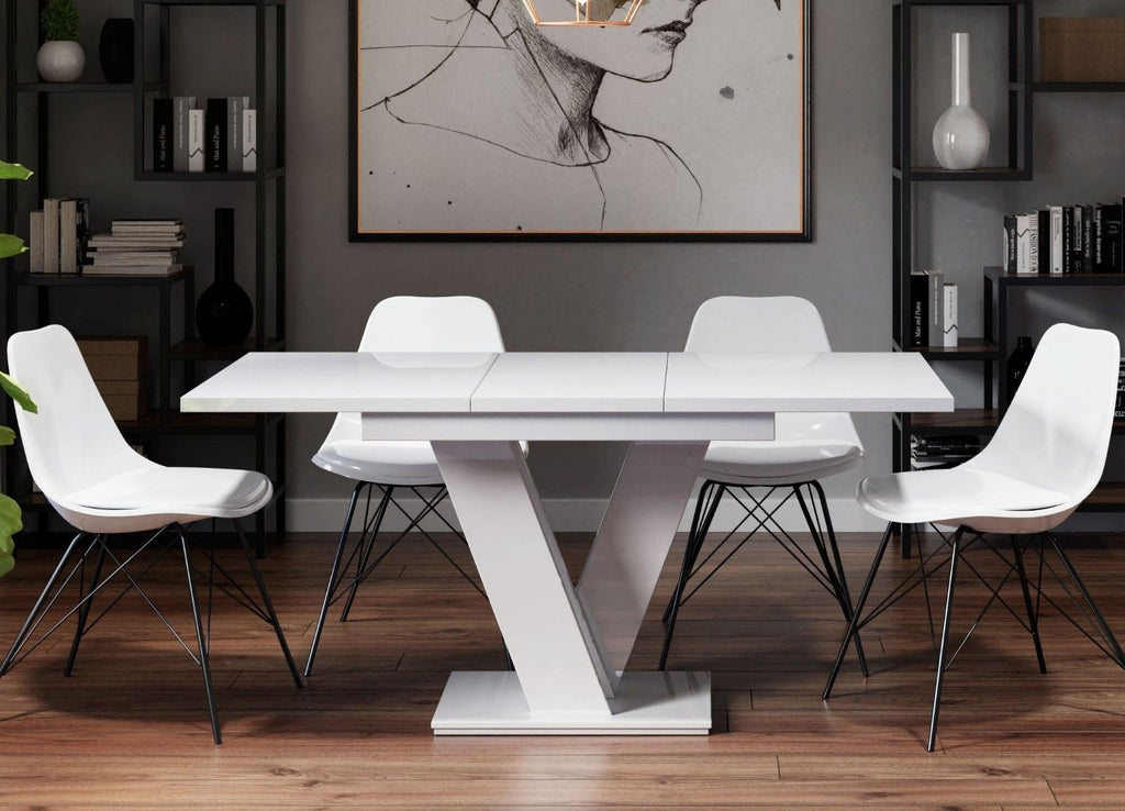 Dining table Vigo I White Gloss Extendable (120-160cm)