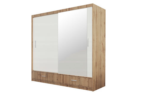 Ibiza Wardrobe 203cm Oak Wotan/White/Mirror