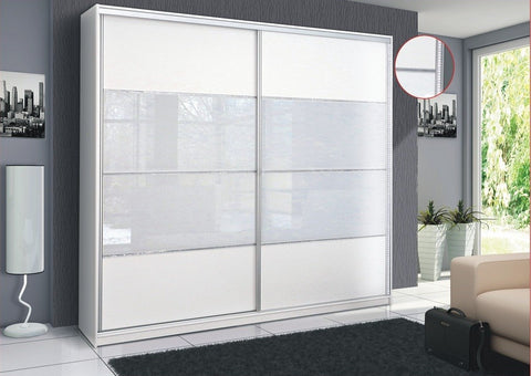 Wardrobe  Malaga - white/white glass and bright decor