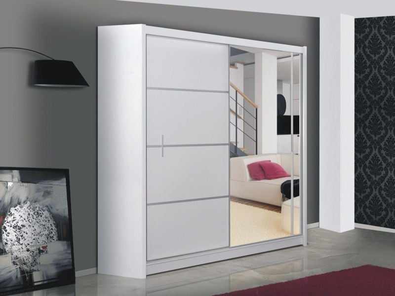VISTA Wardrobe 150cm White/Mirror