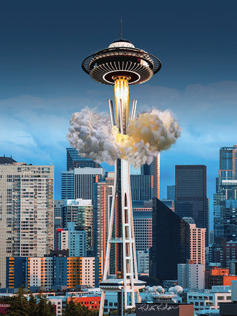 Seattle's UFO Space Needle Fine Art Print - Area 51 UFO Souvenirs Gifts T-Shirts