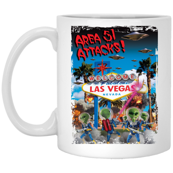 Area 51 Attacks - XP8434 11 oz. White Mug - Area 51 UFO Souvenirs Gifts T-Shirts