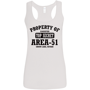 Property of Area 51 - G645RL Ladies' Softstyle Racerback Tank - Starbase9