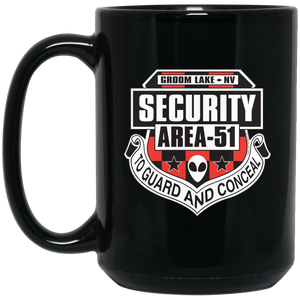 Area 51 Security 15 oz. Black UFO Alien Coffee Mug - Starbase9