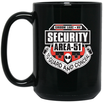 Area 51 Security 15 oz. Black UFO Alien Coffee Mug - Area 51 UFO Souvenirs Gifts T-Shirts