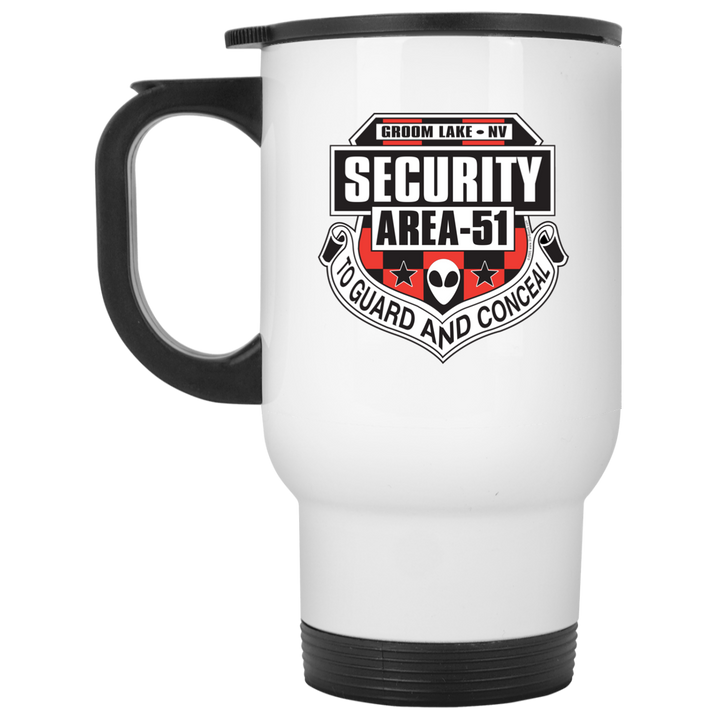 Area 51 UFO Security - XP8400W White Travel Mug - Starbase9