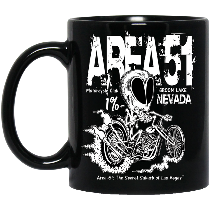 Area 51 Rat Bike - BM11OZ 11 oz. Black Mug - Area 51 UFO Souvenirs Gifts T-Shirts