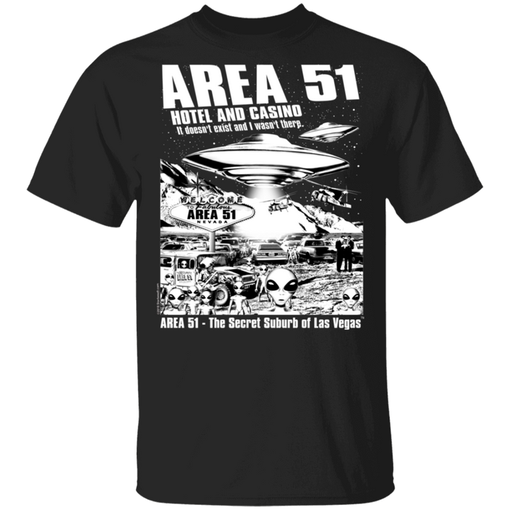 Area51 Hotel Casino 5.3 oz. T-Shirt - Area 51 UFO Souvenirs Gifts T-Shirts