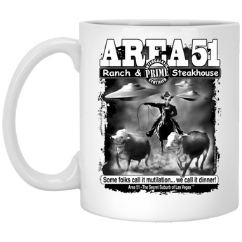 Area 51 Steakhouse XP8434 11 oz. White Mug - Area 51 UFO Souvenirs Gifts T-Shirts