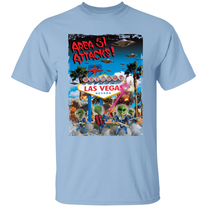 Area 51 Attacks - G500B Youth 5.3 oz 100% Cotton T-Shirt - Area 51 UFO Souvenirs Gifts T-Shirts