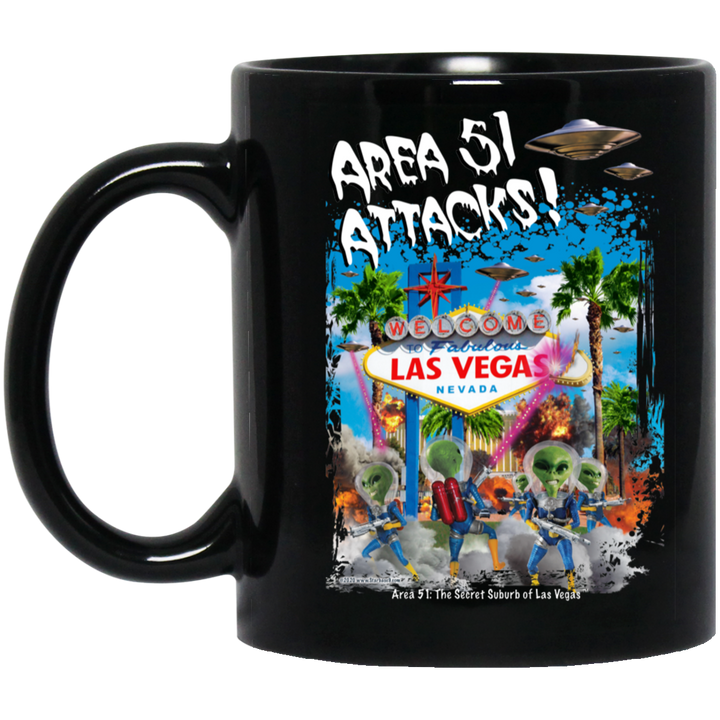 Area 51 Attacks - BM11OZ 11 oz. Black Mug - Starbase9