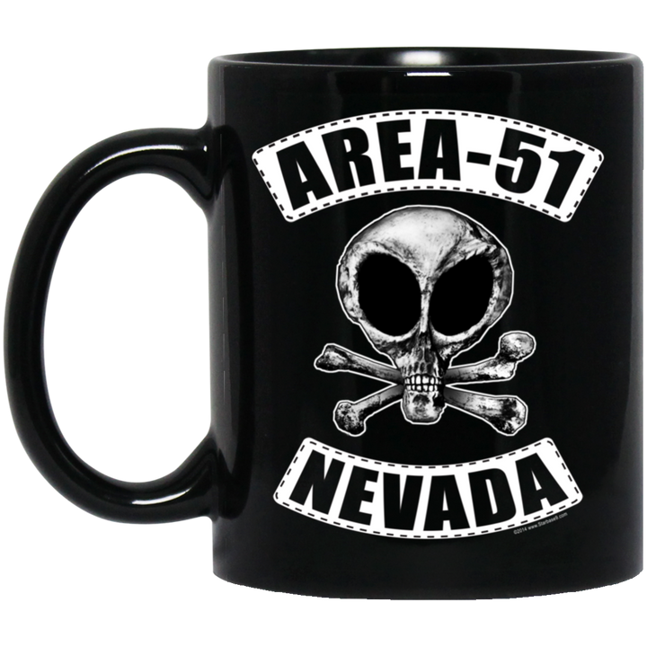 Area 51 Biker - BM11OZ 11 oz. Black Mug - Area 51 UFO Souvenirs Gifts T-Shirts