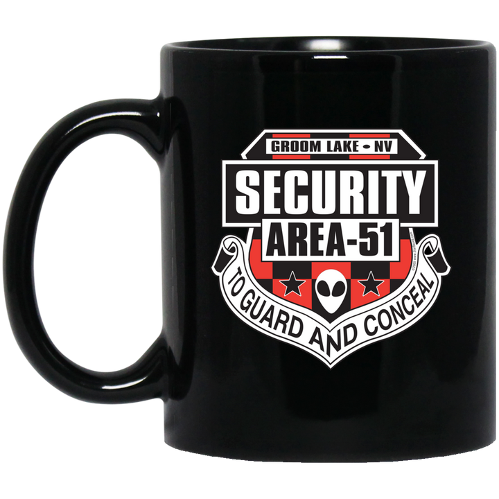 Area 51 Security - BM11OZ 11 oz. Black Mug - Area 51 UFO Souvenirs Gifts T-Shirts