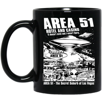 Area 51 Hotel Casino - BM11OZ 11 oz. Black Mug - Area 51 UFO Souvenirs Gifts T-Shirts