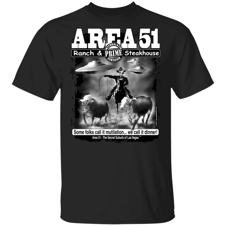 Area51 Steakhouse T-Shirt 5.3 oz. - Area 51 UFO Souvenirs Gifts T-Shirts