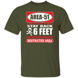 Area 51 -  Warning 6 Foot T-Shirt - Area 51 UFO Souvenirs Gifts T-Shirts