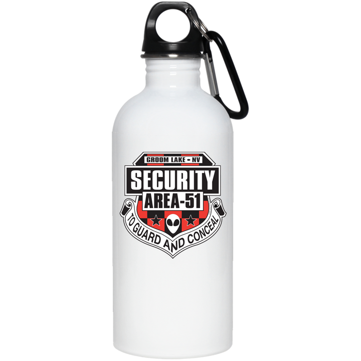 Area 51 UFO Security - 23663 20 oz. Stainless Steel Water Bottle - Area 51 UFO Souvenirs Gifts T-Shirts