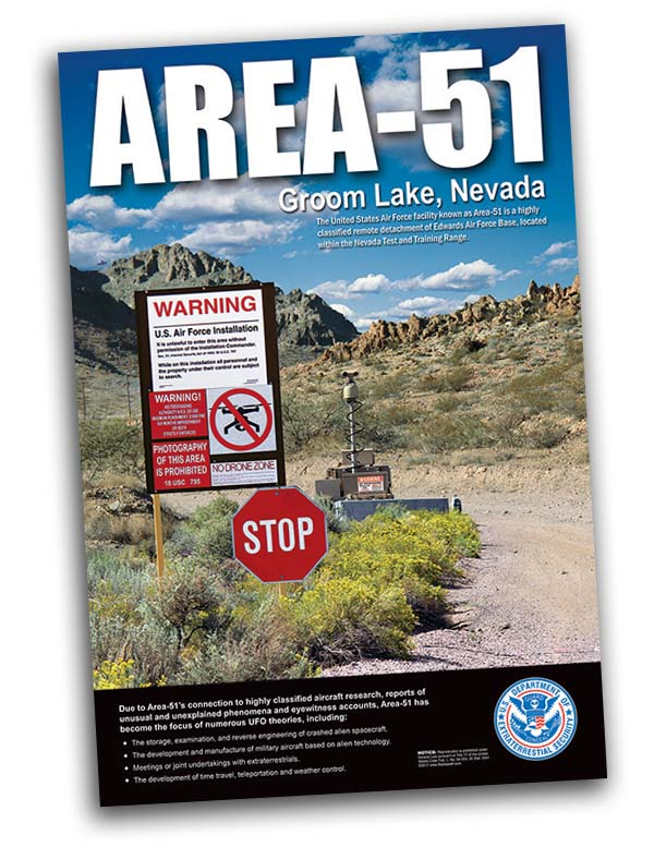 Area 51 Groom Lake Secret Entance Alien UFO Area51 Poster 24x36 - Starbase9