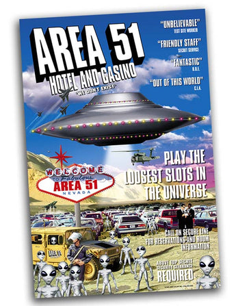 Area 51 Hotel & Casino Alien UFO Area51 Poster 24x36 - Area 51 UFO Souvenirs Gifts T-Shirts