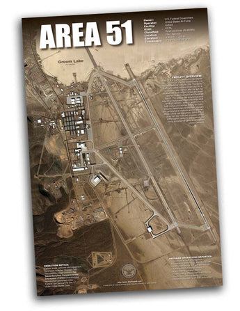 Area 51 arial satellite image UFO poster 24x36