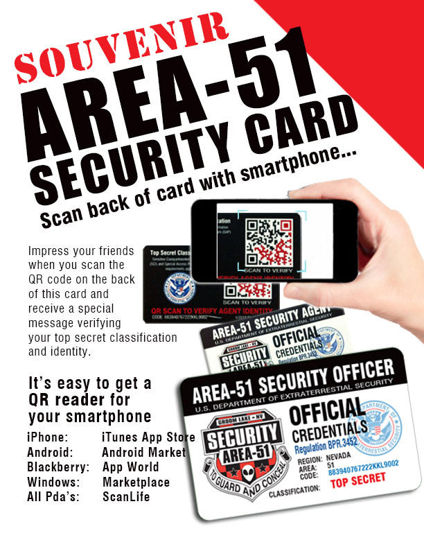 Area 51 Security License Top Secret Area51 License Credentials - Starbase9