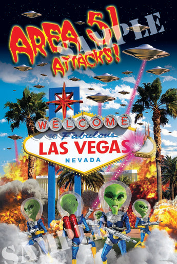 Area-51 Attacks Las Vegas Poster - Area 51 UFO Souvenirs Gifts T-Shirts