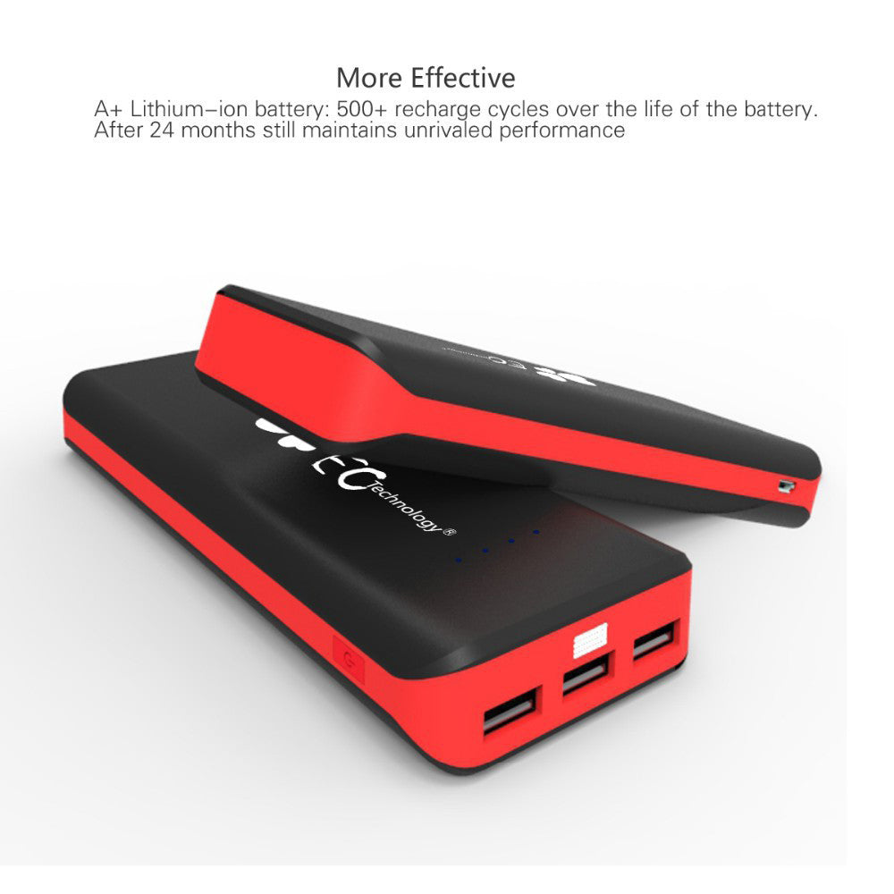 Phone Portable Phone Charger For Android ec technology 16000mah portable battery charger all charged up two cell phone chargers stacked on each other with text explaining that
