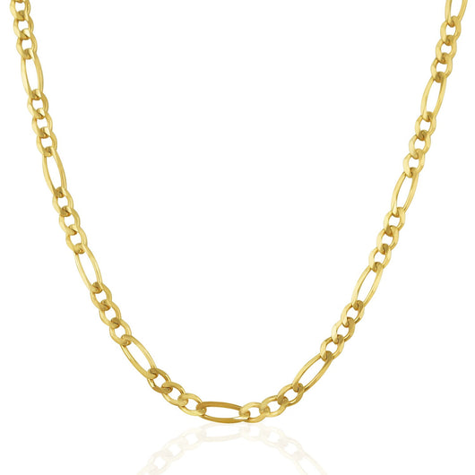 3.8mm 14K Yellow Gold Solid Figaro Chain