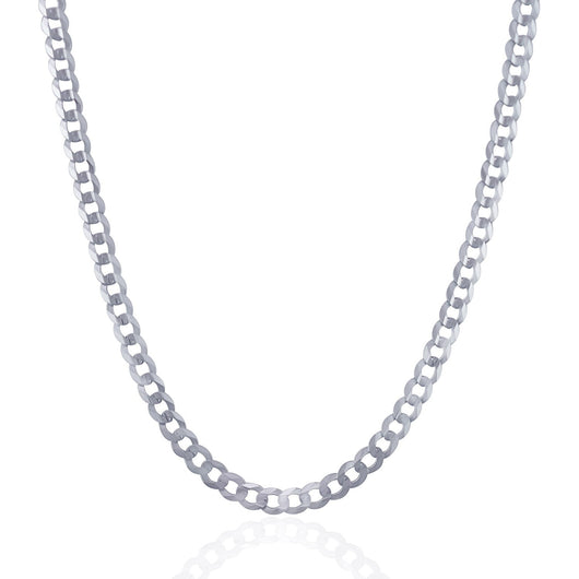 4.7mm 14K White Gold Solid Curb Chain