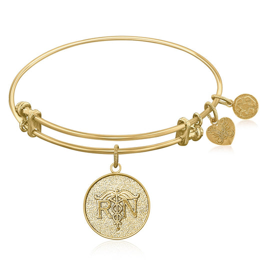 Expandable Bangle in Yellow Tone Brass with Registered Nurse Care Compassion